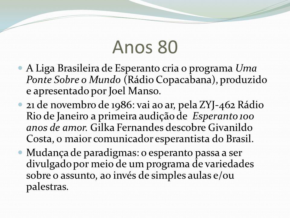 Anos 80 A Liga Brasileira de Esperanto cria o programa Uma Ponte Sobre o Mundo (Rádio Copacabana), produzido e apresentado por Joel Manso. 21 de novem