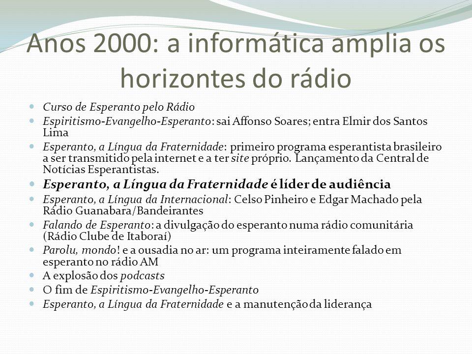 Anos 2000: a informática amplia os horizontes do rádio Curso de Esperanto pelo Rádio Espiritismo-Evangelho-Esperanto: sai Affonso Soares; entra Elmir