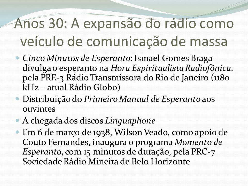 Anos 30: A expansão do rádio como veículo de comunicação de massa Cinco Minutos de Esperanto: Ismael Gomes Braga divulga o esperanto na Hora Espiritua