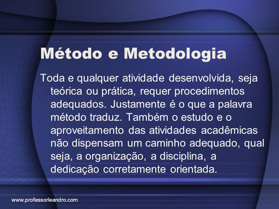 Método e Metodologia Toda e qualquer atividade desenvolvida, seja teórica ou prática, requer procedimentos adequados. Justamente é o que a palavra mét