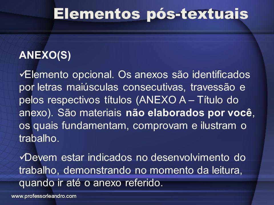 Elementos pós-textuais ANEXO(S) Elemento opcional. Os anexos são identificados por letras maiúsculas consecutivas, travessão e pelos respectivos títul