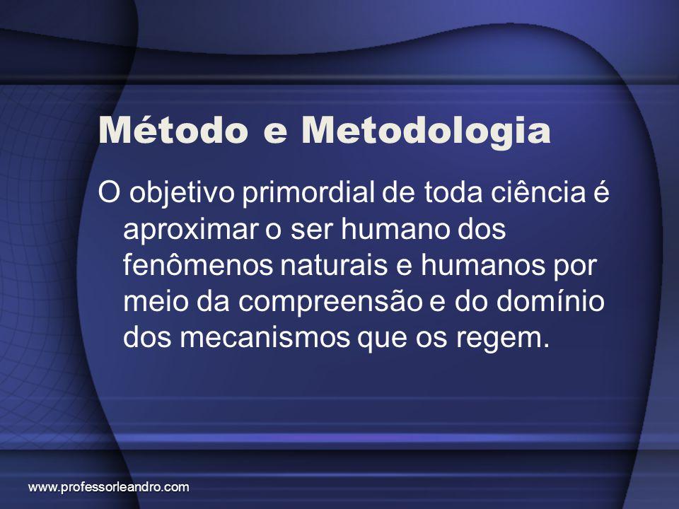 Método e Metodologia O objetivo primordial de toda ciência é aproximar o ser humano dos fenômenos naturais e humanos por meio da compreensão e do domí