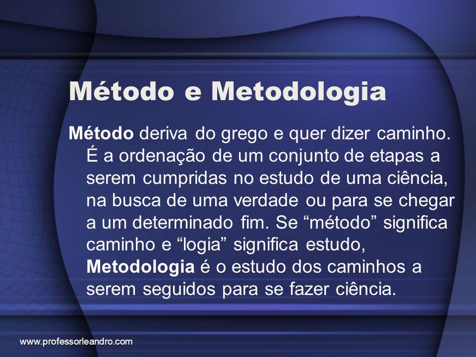Método e Metodologia Método deriva do grego e quer dizer caminho. É a ordenação de um conjunto de etapas a serem cumpridas no estudo de uma ciência, n
