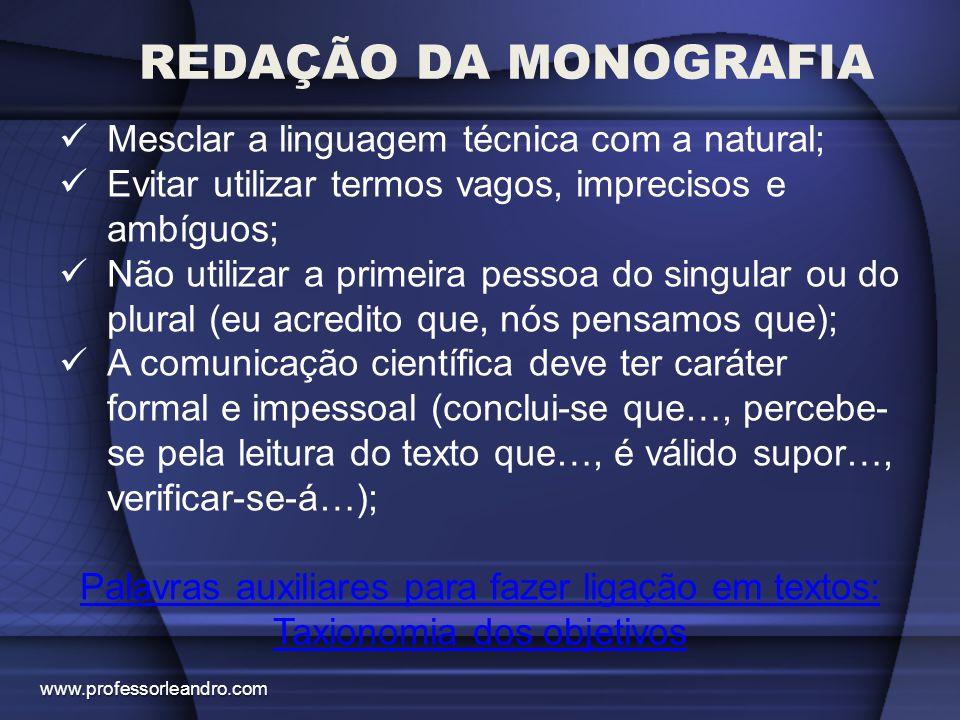 REDAÇÃO DA MONOGRAFIA Mesclar a linguagem técnica com a natural; Evitar utilizar termos vagos, imprecisos e ambíguos; Não utilizar a primeira pessoa d