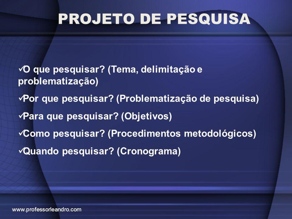 O QUE O PROJETO CONTÉM: PROJETO DE PESQUISA TEMATÍTULO JUSTIFICATIVA DO TEMA PROBLEMATIZAÇÃOGERALESPECÍFICOSOBJETIVOSGERALESPECÍFICOSMETODOLOGIA GERALCRONOGRAMA www.professorleandro.com