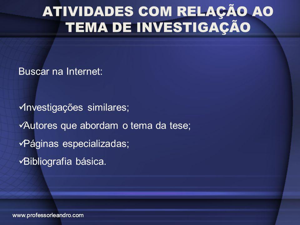 ATIVIDADES COM RELAÇÃO AO TEMA DE INVESTIGAÇÃO Buscar na Internet: Investigações similares; Autores que abordam o tema da tese; Páginas especializadas