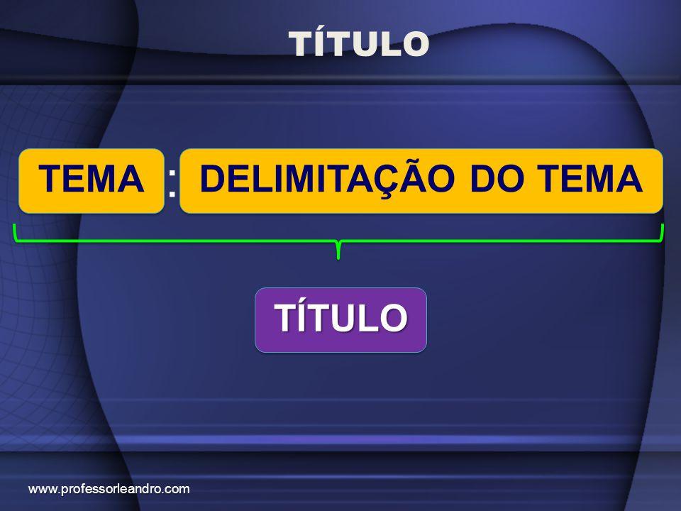 TÍTULO www.professorleandro.com TEMA : DELIMITAÇÃO DO TEMA TÍTULOTÍTULO