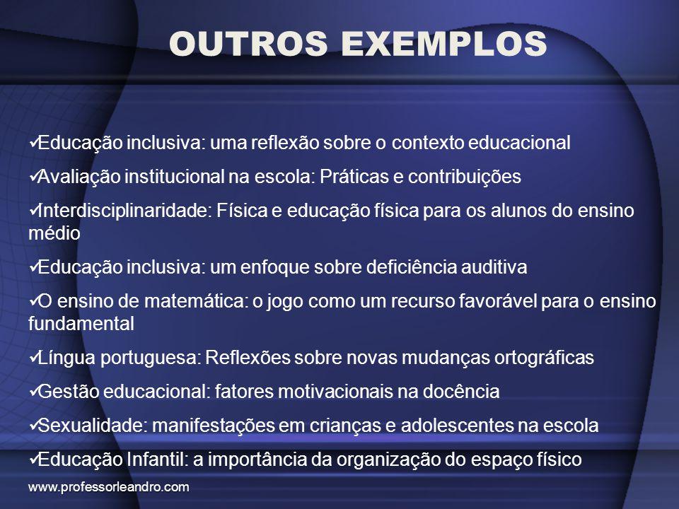 OUTROS EXEMPLOS Educação inclusiva: uma reflexão sobre o contexto educacional Avaliação institucional na escola: Práticas e contribuições Interdiscipl