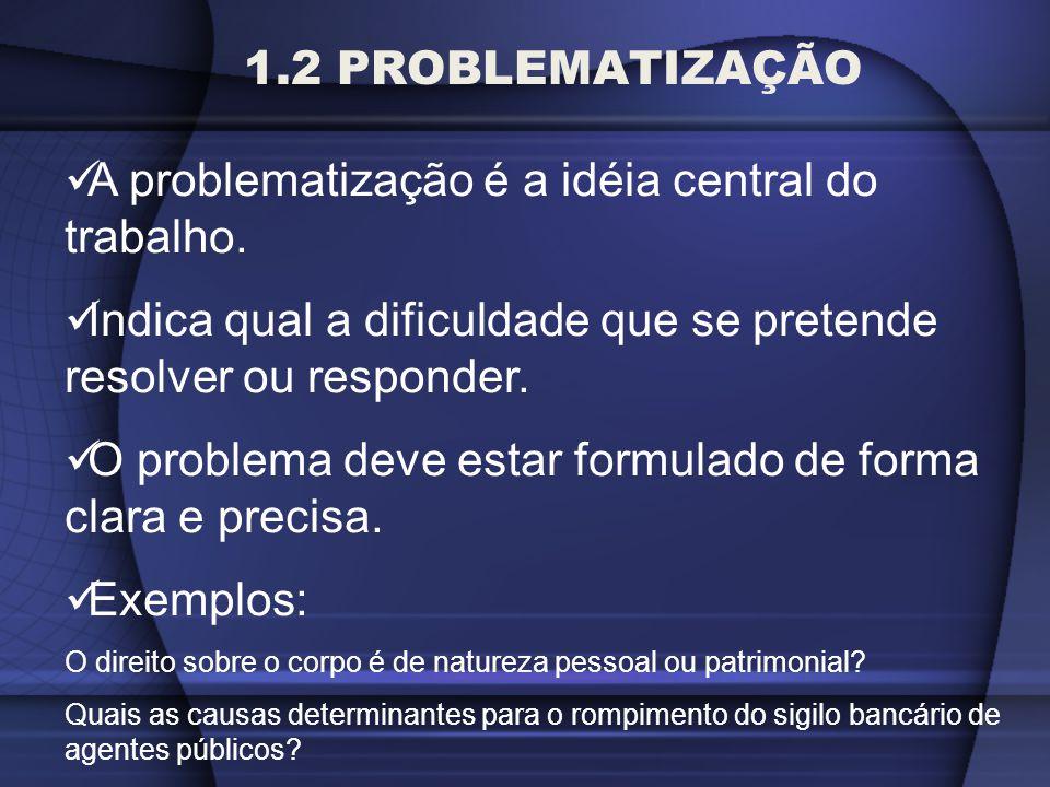 1.2 PROBLEMATIZAÇÃO A problematização é a idéia central do trabalho. Indica qual a dificuldade que se pretende resolver ou responder. O problema deve