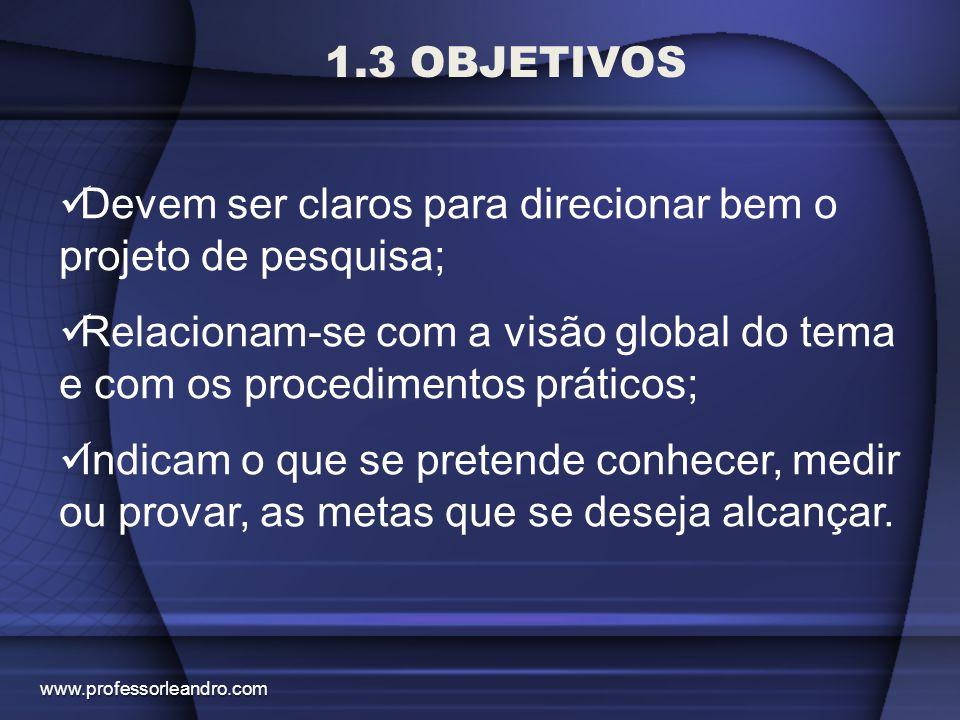 1.3 OBJETIVOS Devem ser claros para direcionar bem o projeto de pesquisa; Relacionam-se com a visão global do tema e com os procedimentos práticos; In