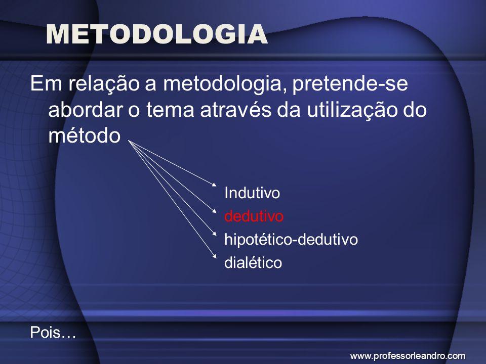 METODOLOGIA Em relação a metodologia, pretende-se abordar o tema através da utilização do método Indutivo dedutivo hipotético-dedutivo dialético Pois…