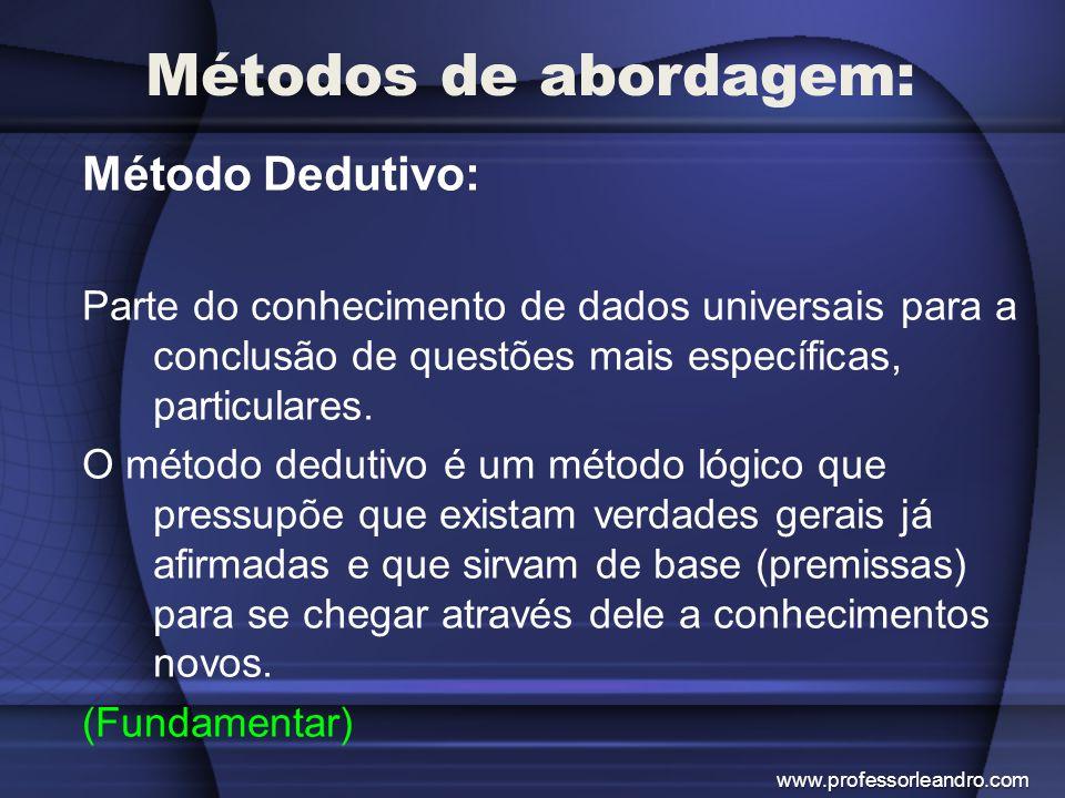 Métodos de abordagem: Método Dedutivo: Parte do conhecimento de dados universais para a conclusão de questões mais específicas, particulares. O método