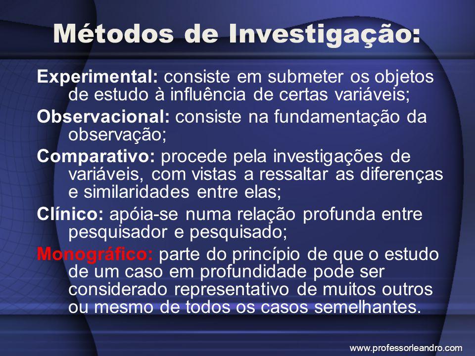 Métodos de Investigação: Experimental: consiste em submeter os objetos de estudo à influência de certas variáveis; Observacional: consiste na fundamen