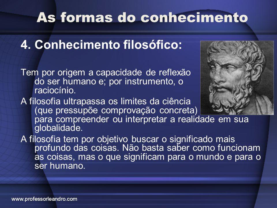 As formas do conhecimento 4.Conhecimento filosófico: Tem por origem a capacidade de reflexão do ser humano e; por instrumento, o raciocínio. A filosof