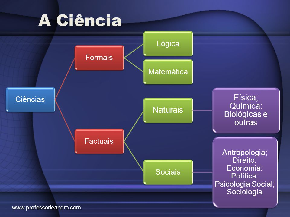 A Ciência www.professorleandro.com CiênciasFormaisLógicaMatemáticaFactuais Naturais Física; Química: Biológicas e outras Sociais Antropologia; Direito
