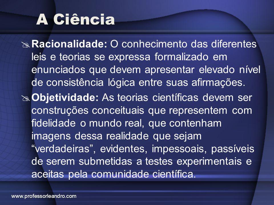 A Ciência  Racionalidade: O conhecimento das diferentes leis e teorias se expressa formalizado em enunciados que devem apresentar elevado nível de co