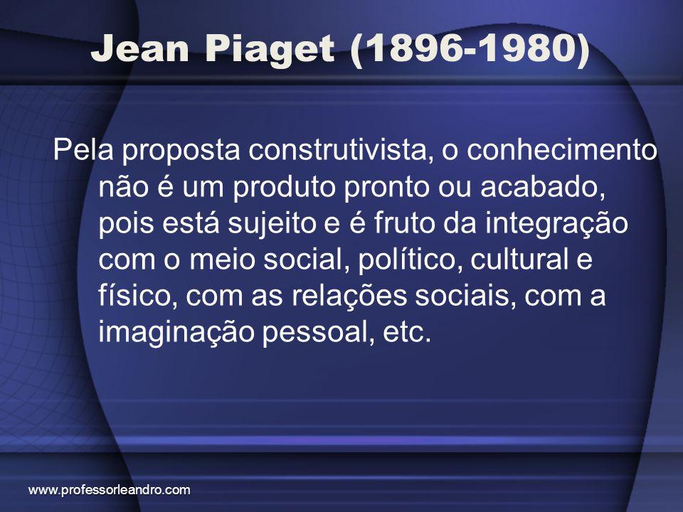 Jean Piaget (1896-1980) Pela proposta construtivista, o conhecimento não é um produto pronto ou acabado, pois está sujeito e é fruto da integração com