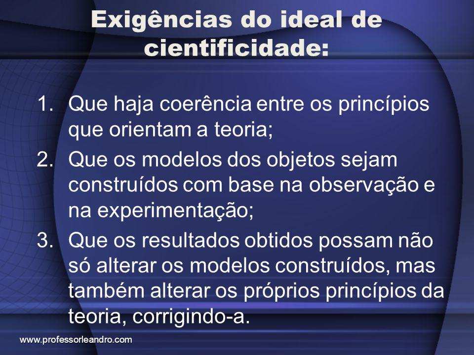 Exigências do ideal de cientificidade: 1.Que haja coerência entre os princípios que orientam a teoria; 2.Que os modelos dos objetos sejam construídos
