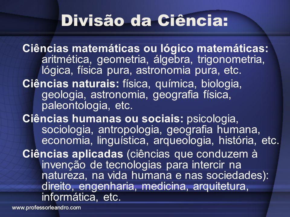 Divisão da Ciência: Ciências matemáticas ou lógico matemáticas: aritmética, geometria, álgebra, trigonometria, lógica, física pura, astronomia pura, e