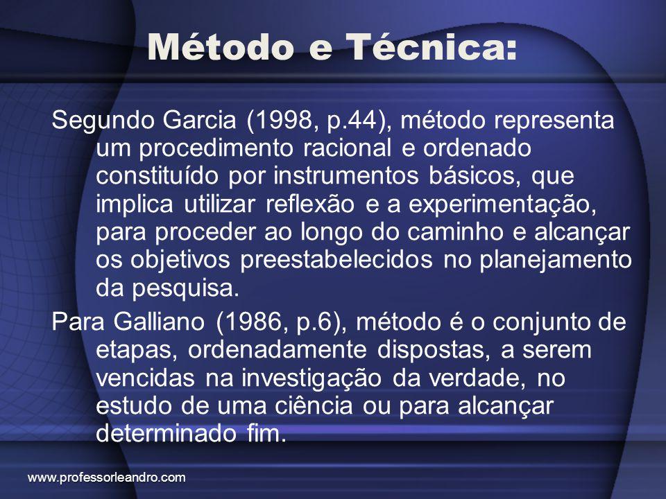 Método e Técnica: Segundo Garcia (1998, p.44), método representa um procedimento racional e ordenado constituído por instrumentos básicos, que implica