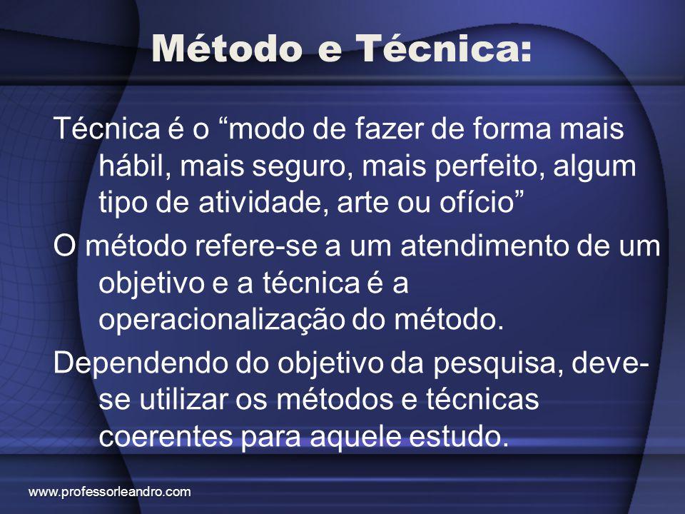 """Método e Técnica: Técnica é o """"modo de fazer de forma mais hábil, mais seguro, mais perfeito, algum tipo de atividade, arte ou ofício"""" O método refere"""