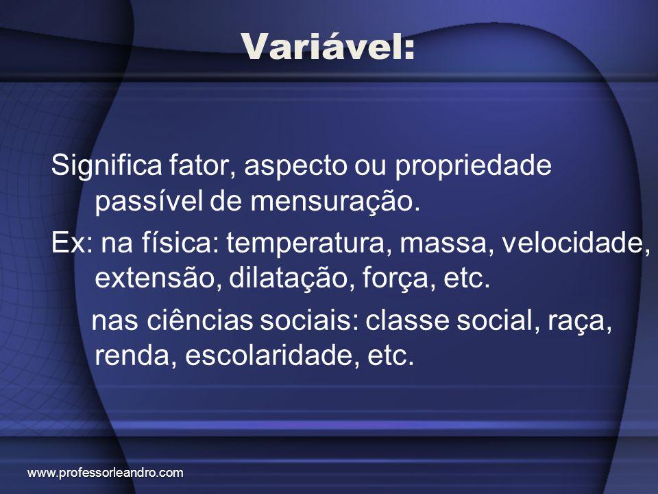 Variável: Significa fator, aspecto ou propriedade passível de mensuração. Ex: na física: temperatura, massa, velocidade, extensão, dilatação, força, e