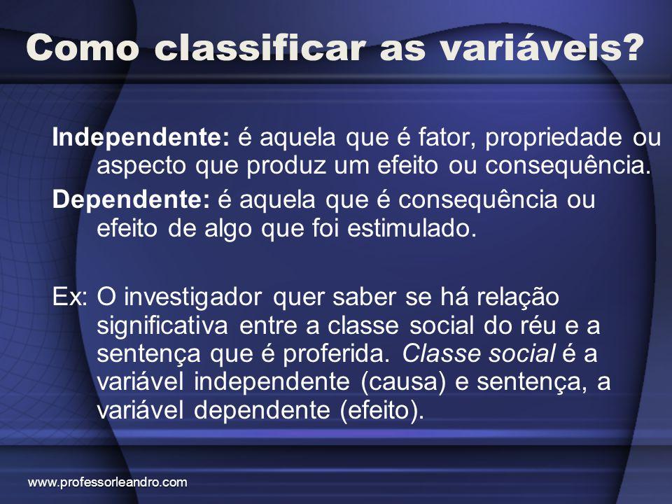Como classificar as variáveis? Independente: é aquela que é fator, propriedade ou aspecto que produz um efeito ou consequência. Dependente: é aquela q
