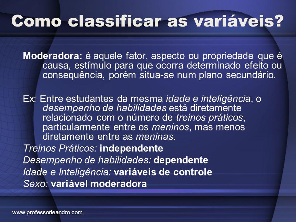 Como classificar as variáveis? Moderadora: é aquele fator, aspecto ou propriedade que é causa, estímulo para que ocorra determinado efeito ou consequê