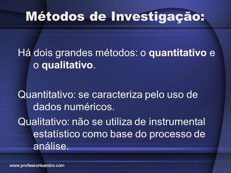Métodos de Investigação: Há dois grandes métodos: o quantitativo e o qualitativo. Quantitativo: se caracteriza pelo uso de dados numéricos. Qualitativ