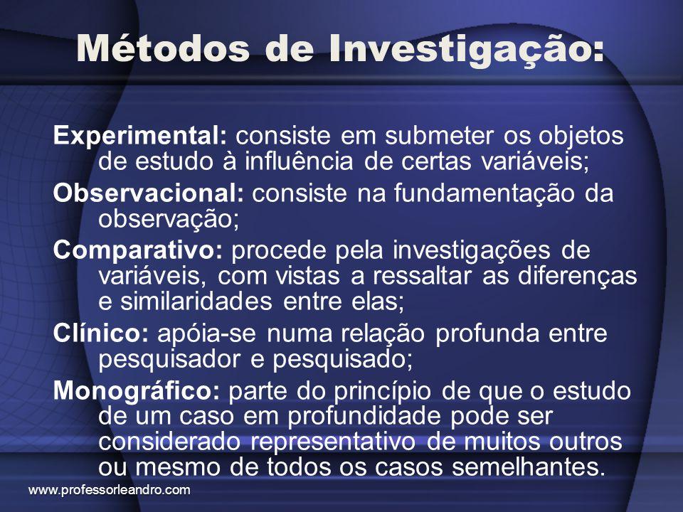 Pesquisa: É um processo de investigação que se interessa em descobrir as relações existentes entre os aspectos que envolvem os fatos, fenômenos, situações ou coisas.