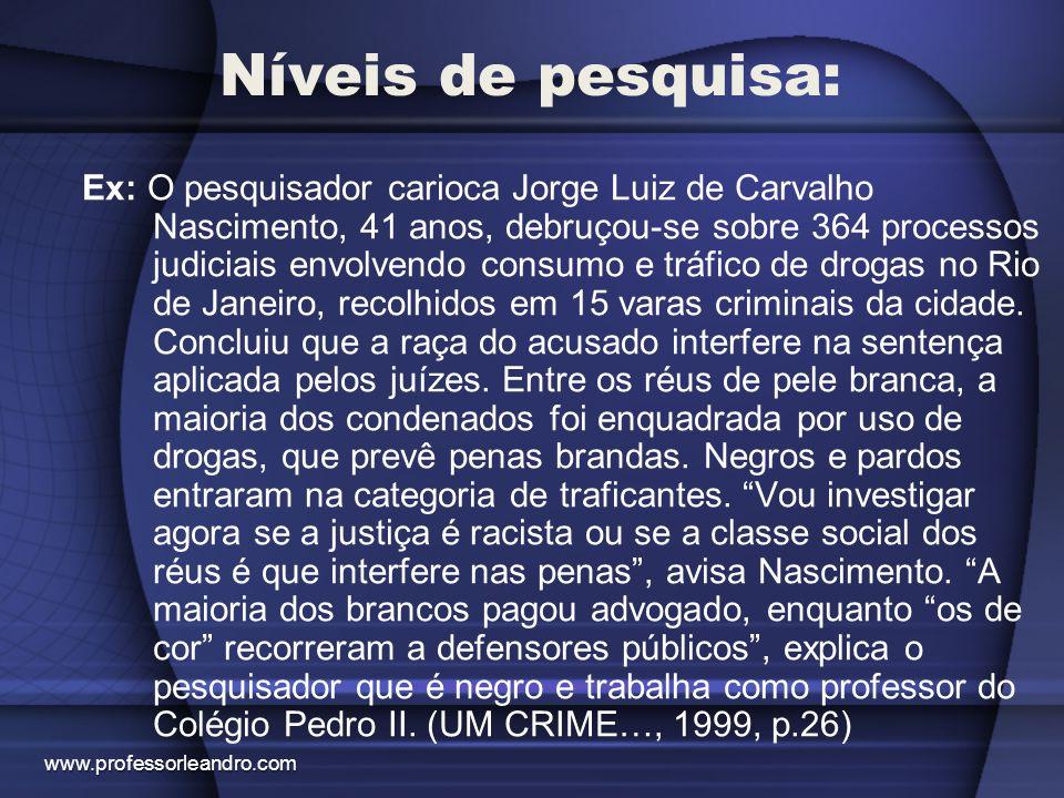 Níveis de pesquisa: Ex: O pesquisador carioca Jorge Luiz de Carvalho Nascimento, 41 anos, debruçou-se sobre 364 processos judiciais envolvendo consumo