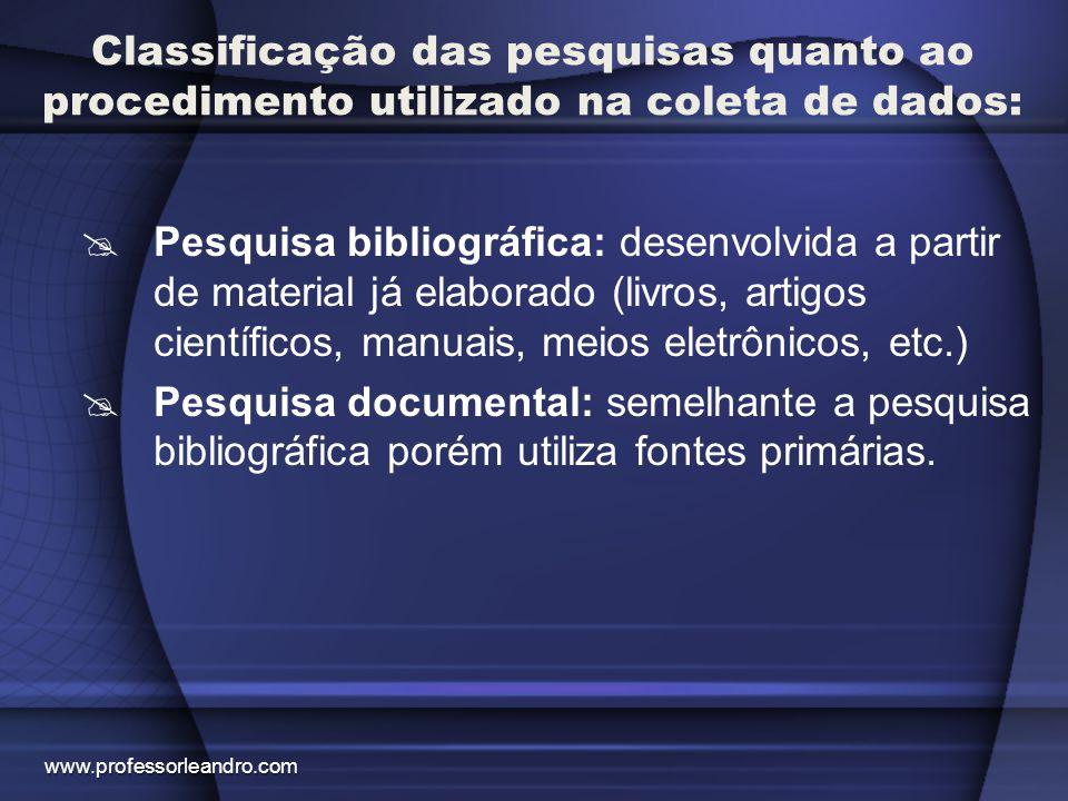  Pesquisa bibliográfica: desenvolvida a partir de material já elaborado (livros, artigos científicos, manuais, meios eletrônicos, etc.)  Pesquisa do
