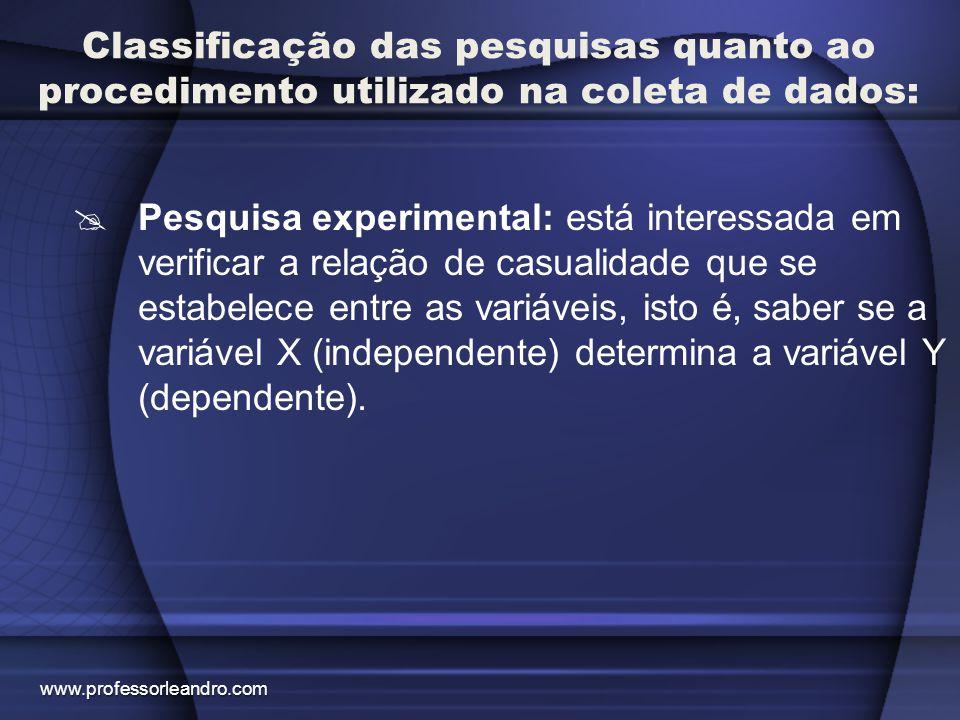 Classificação das pesquisas quanto ao procedimento utilizado na coleta de dados:  Pesquisa experimental: está interessada em verificar a relação de c