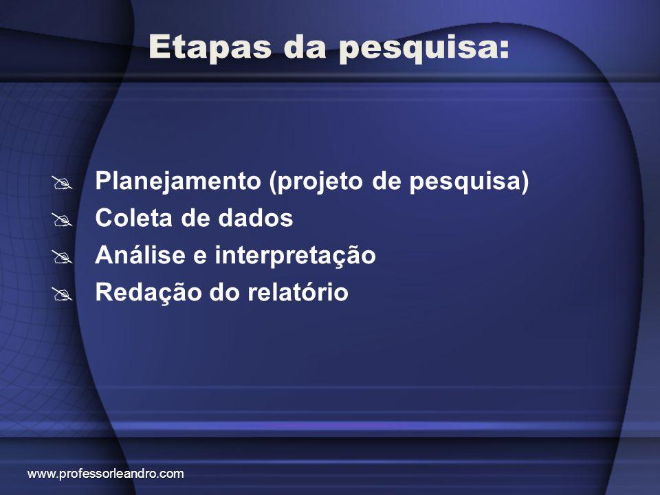 Etapas da pesquisa: PPlanejamento (projeto de pesquisa) CColeta de dados AAnálise e interpretação RRedação do relatório www.professorleandro.c