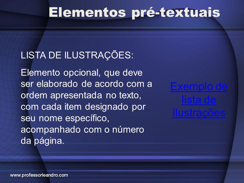 Elementos pré-textuais Exemplo de lista de Tabelas LISTA DE TABELAS: Elemento opcional, elaborado de acordo com a ordem apresentada no texto, com cada item designado por seu nome específico, acompanhado do respectivo número da página.
