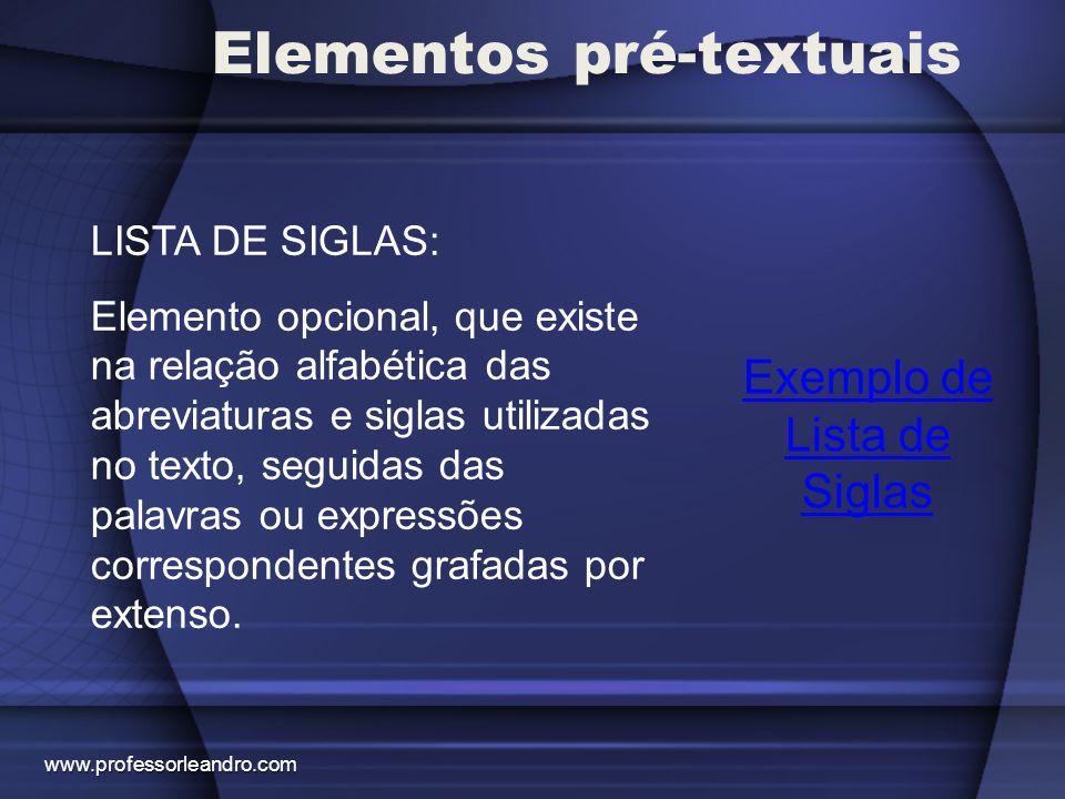 Elementos pré-textuais Exemplo de Lista de Siglas LISTA DE SIGLAS: Elemento opcional, que existe na relação alfabética das abreviaturas e siglas utili