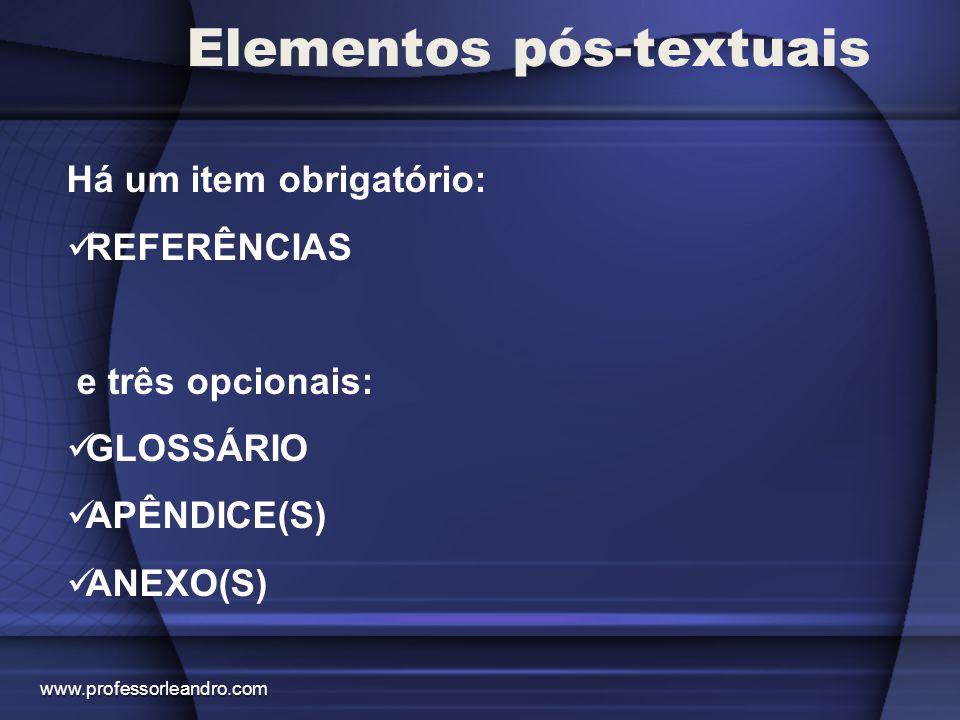 Elementos pós-textuais REFERÊNCIAS É a relação de todas as fontes consultadas.