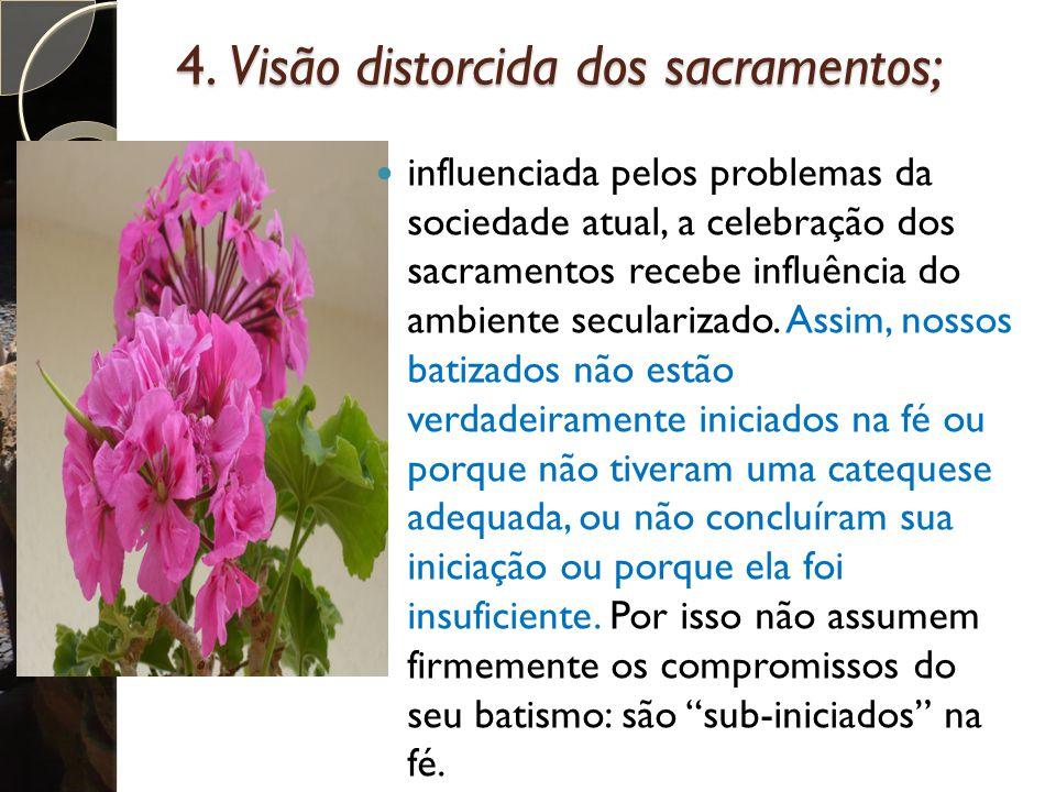 4. Visão distorcida dos sacramentos; influenciada pelos problemas da sociedade atual, a celebração dos sacramentos recebe influência do ambiente secul