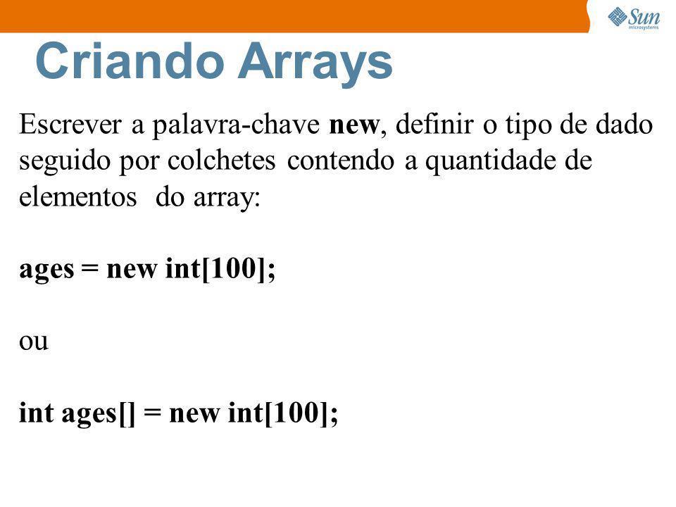 Exercício IV Crie um array de tamanho 6.