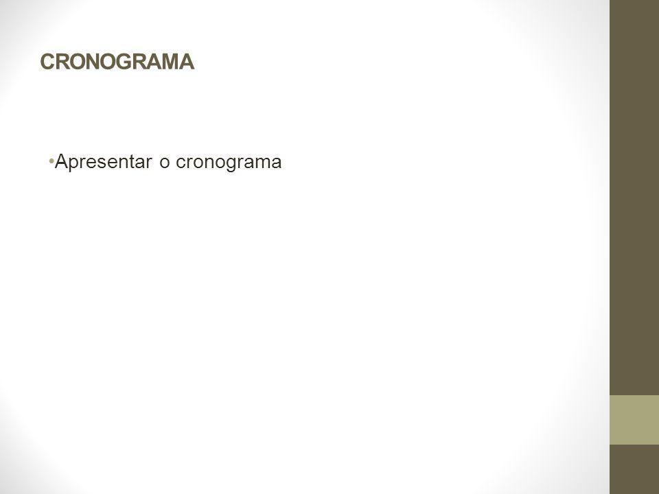CRONOGRAMA Apresentar o cronograma