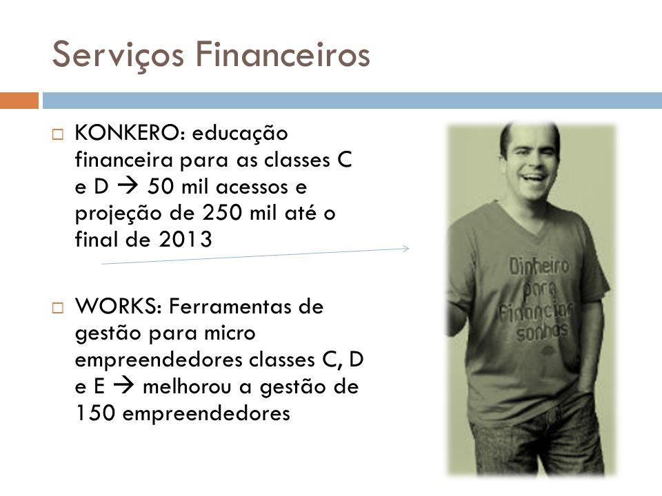 Serviços Financeiros  KONKERO: educação financeira para as classes C e D  50 mil acessos e projeção de 250 mil até o final de 2013  WORKS: Ferramentas de gestão para micro empreendedores classes C, D e E  melhorou a gestão de 150 empreendedores