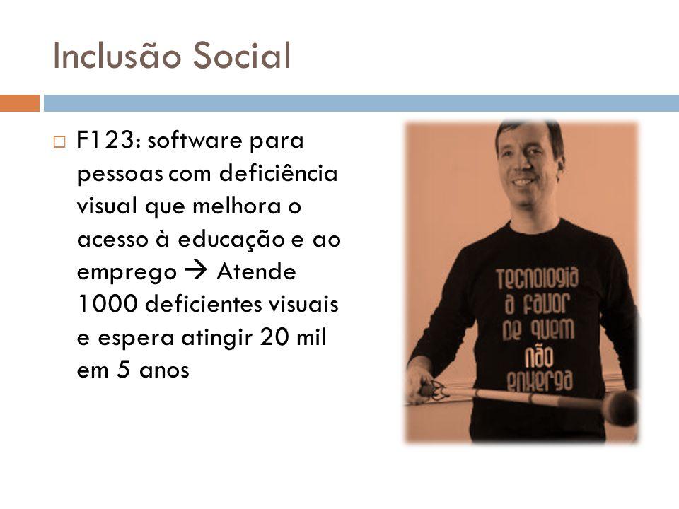 Inclusão Social  F123: software para pessoas com deficiência visual que melhora o acesso à educação e ao emprego  Atende 1000 deficientes visuais e espera atingir 20 mil em 5 anos