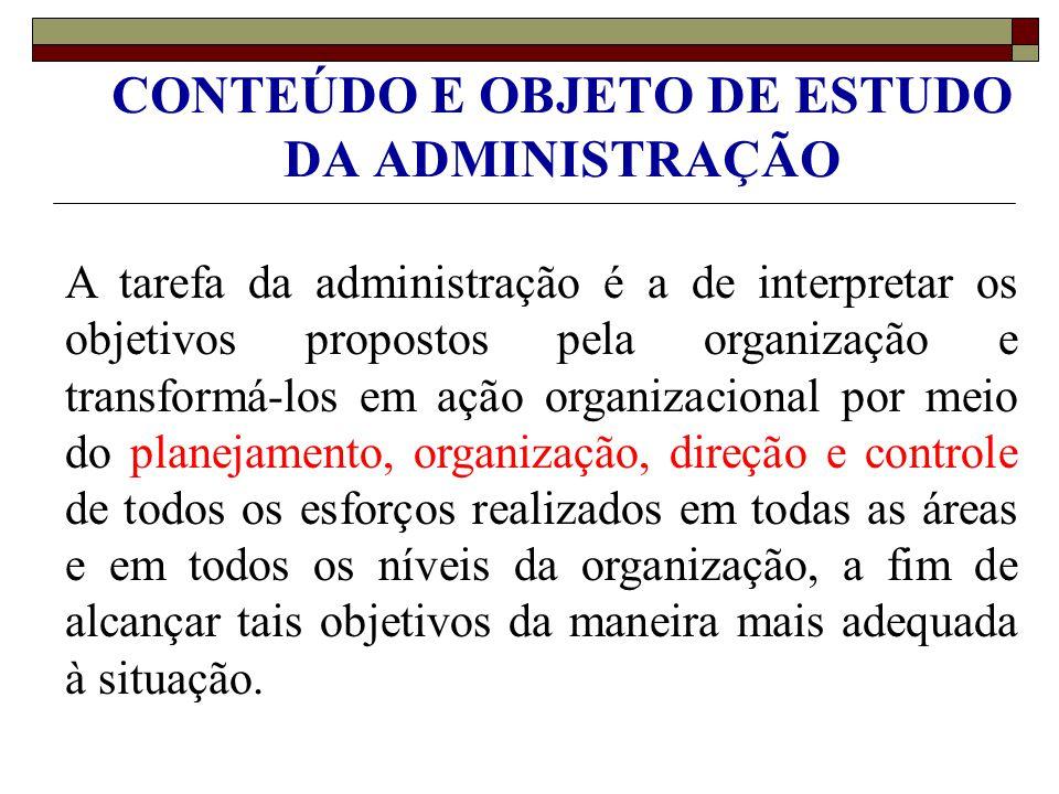 CONTEÚDO E OBJETO DE ESTUDO DA ADMINISTRAÇÃO A tarefa da administração é a de interpretar os objetivos propostos pela organização e transformá-los em