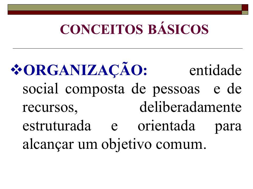  ORGANIZAÇÃO: entidade social composta de pessoas e de recursos, deliberadamente estruturada e orientada para alcançar um objetivo comum.