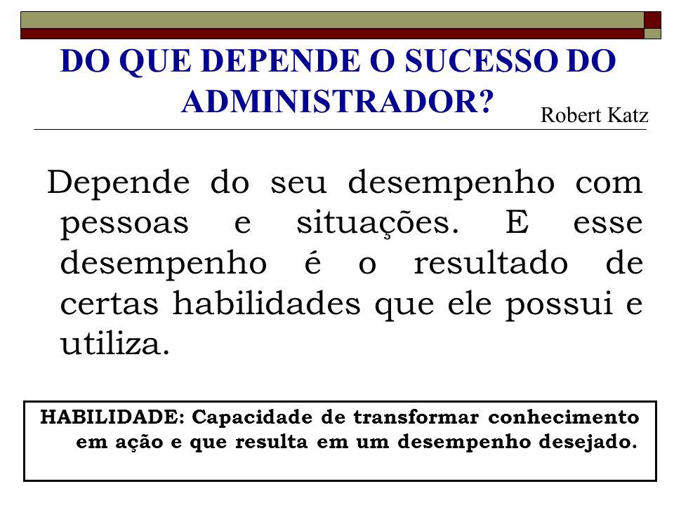 DO QUE DEPENDE O SUCESSO DO ADMINISTRADOR? Depende do seu desempenho com pessoas e situações. E esse desempenho é o resultado de certas habilidades qu