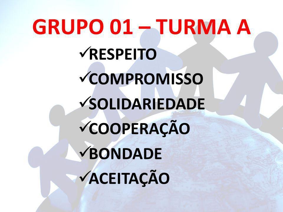GRUPO 01 – TURMA A RESPEITO COMPROMISSO SOLIDARIEDADE COOPERAÇÃO BONDADE ACEITAÇÃO