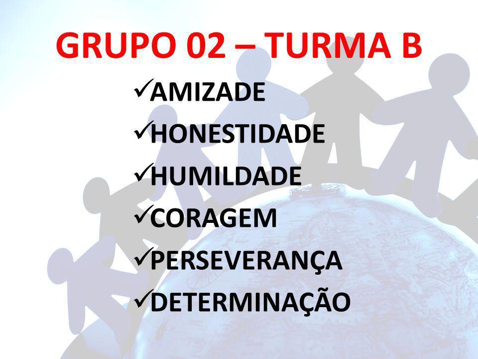 GRUPO 02 – TURMA B AMIZADE HONESTIDADE HUMILDADE CORAGEM PERSEVERANÇA DETERMINAÇÃO