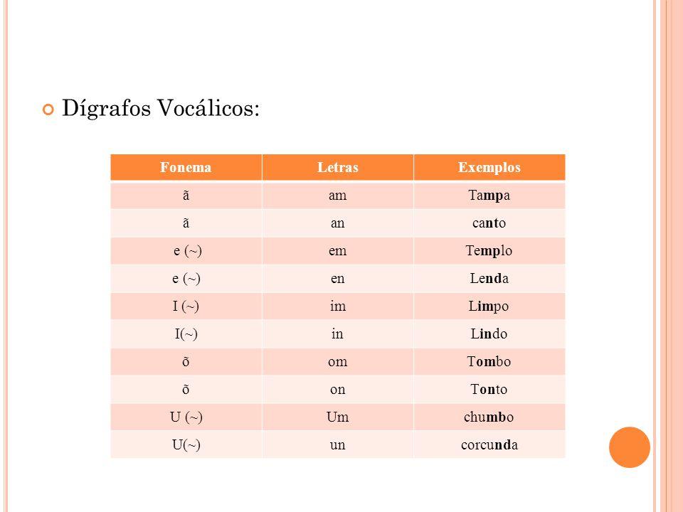 Dígrafos Vocálicos: FonemaLetrasExemplos ãamTampa ãancanto e (~)emTemplo e (~)enLenda I (~)imLimpo I(~)inLindo õomTombo õonTonto U (~)Umchumbo U(~)unc