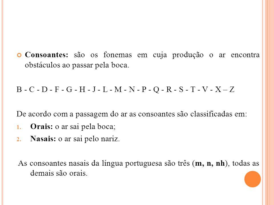 Consoantes: são os fonemas em cuja produção o ar encontra obstáculos ao passar pela boca. B - C - D - F - G - H - J - L - M - N - P - Q - R - S - T -