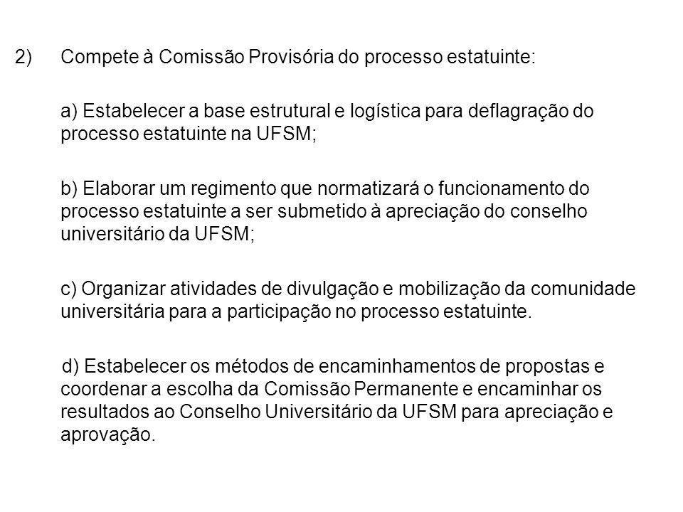2)Compete à Comissão Provisória do processo estatuinte: a) Estabelecer a base estrutural e logística para deflagração do processo estatuinte na UFSM;